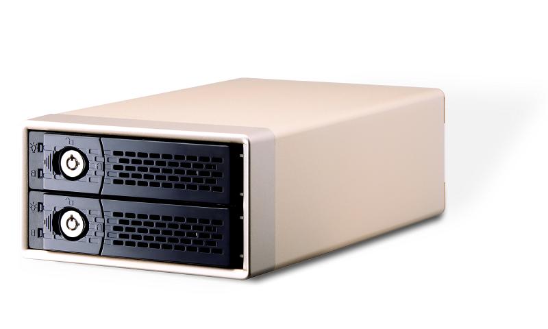2 baías, RAID por hardware. Interface USB-C 3.1 Gen2 10Gbps.
