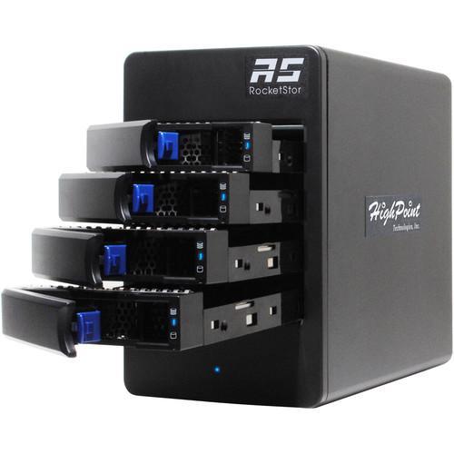 4 baías Hot-Swap, RAID por software. Interface USB-C 3.1 Gen2 10Gbps.