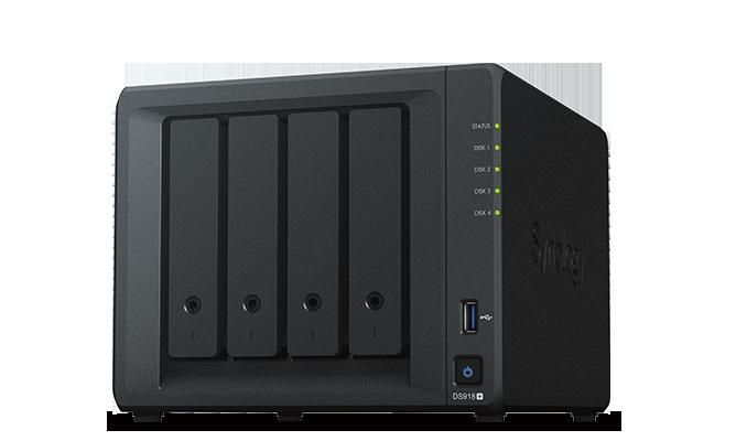 Servidor DS918+ - 4 baías SATA 'hot-swap' / 2 interfaces de rede Gbit