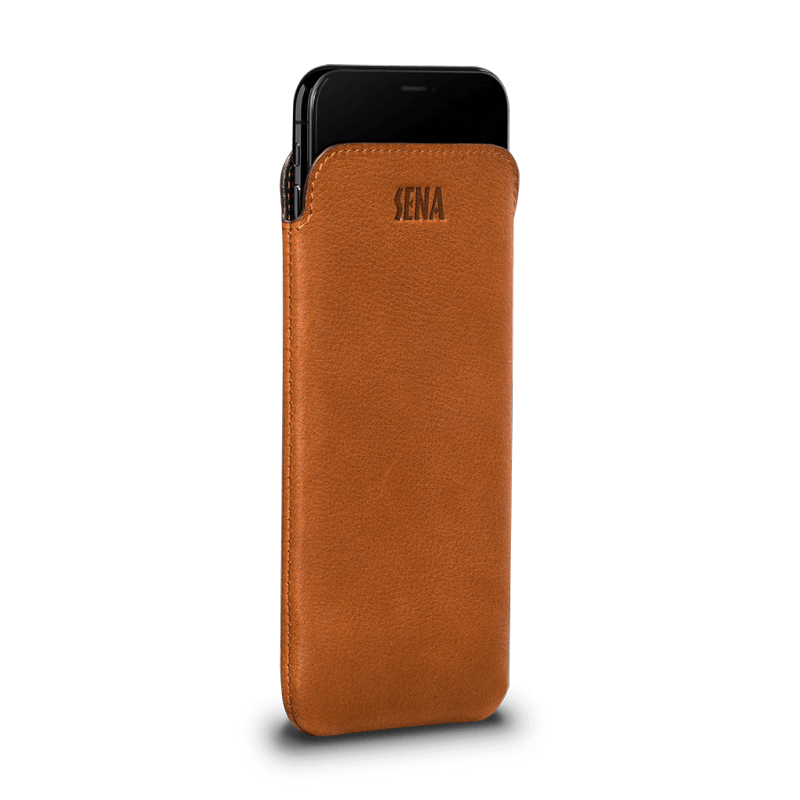 Sena UltraSlim Tan Leather Sleeve for iPhone XR