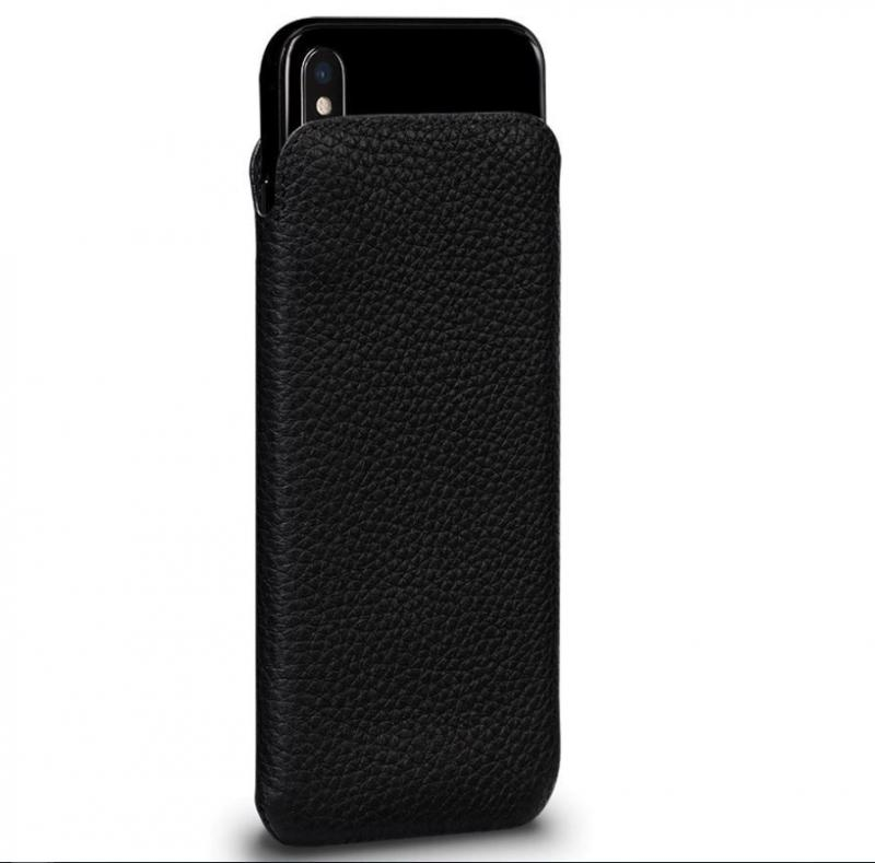 Sena UltraSlim Black Leather Sleeve for iPhone XS Max