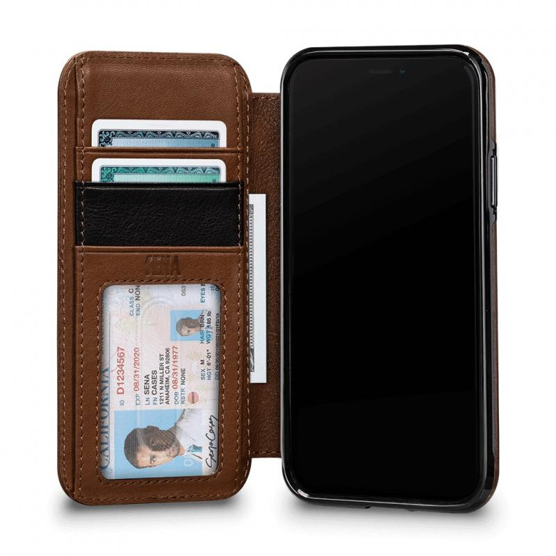 Sena Deen Tan Leather Wallet Book for iPhone XS/11 Max