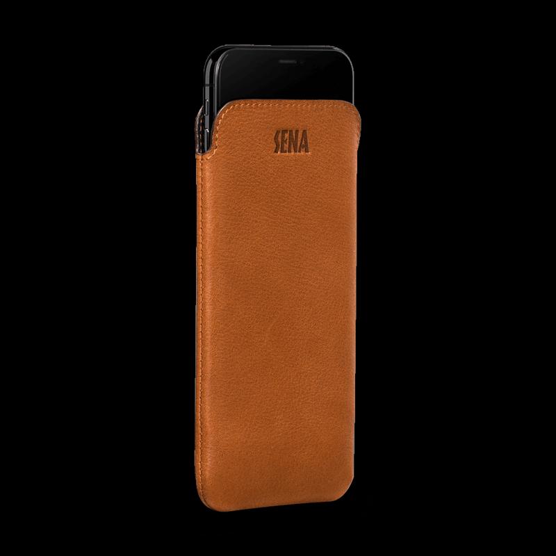 Sena UltraSlim Tan Leather Sleeve for iPhone XR