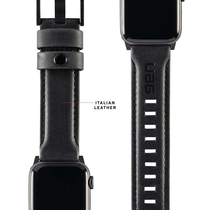Urban Armor Gear Apple Watch 44'/42' Leather Strap- Black